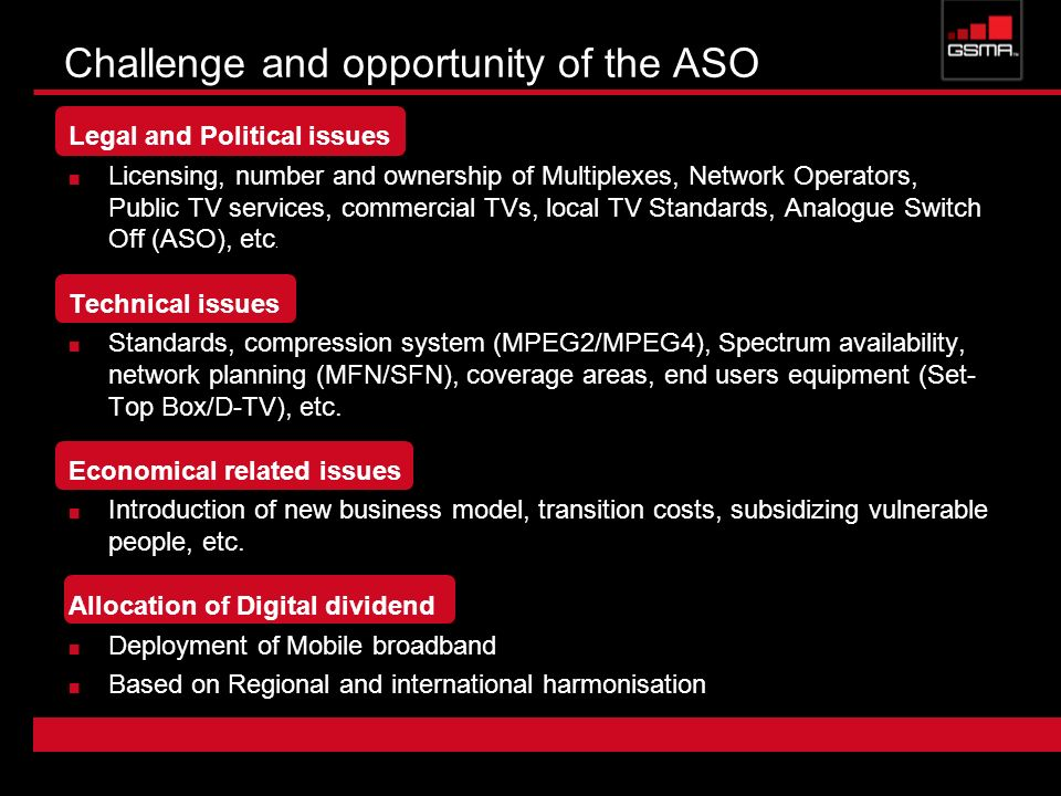 Challenge and opportunity of the ASO Legal and Political issues Licensing, number and ownership of Multiplexes, Network Operators, Public TV services,
