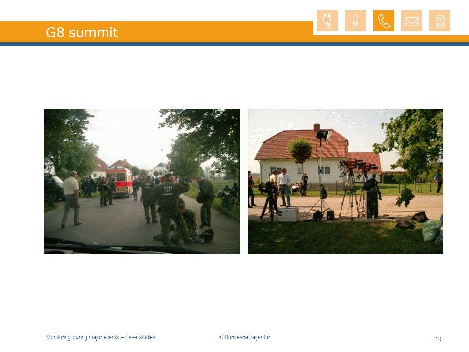 Monitoring during major events – Case studies 10 G8 summit © Bundesnetzagentur