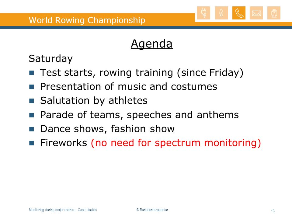 Monitoring during major events – Case studies 13 World Rowing Championship Agenda Saturday Test starts, rowing training (since Friday) Presentation of