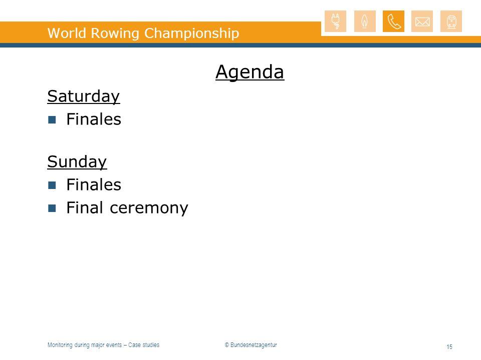 Monitoring during major events – Case studies 15 World Rowing Championship Agenda Saturday Finales Sunday Finales Final ceremony © Bundesnetzagentur