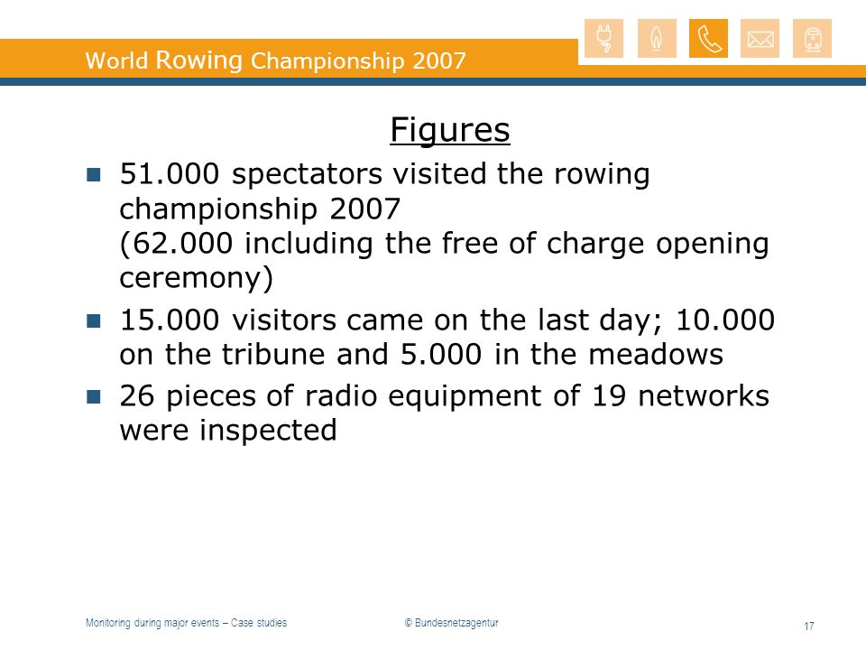 Monitoring during major events – Case studies 17 World Rowing Championship 2007 Figures 51.000 spectators visited the rowing championship 2007 (62.000