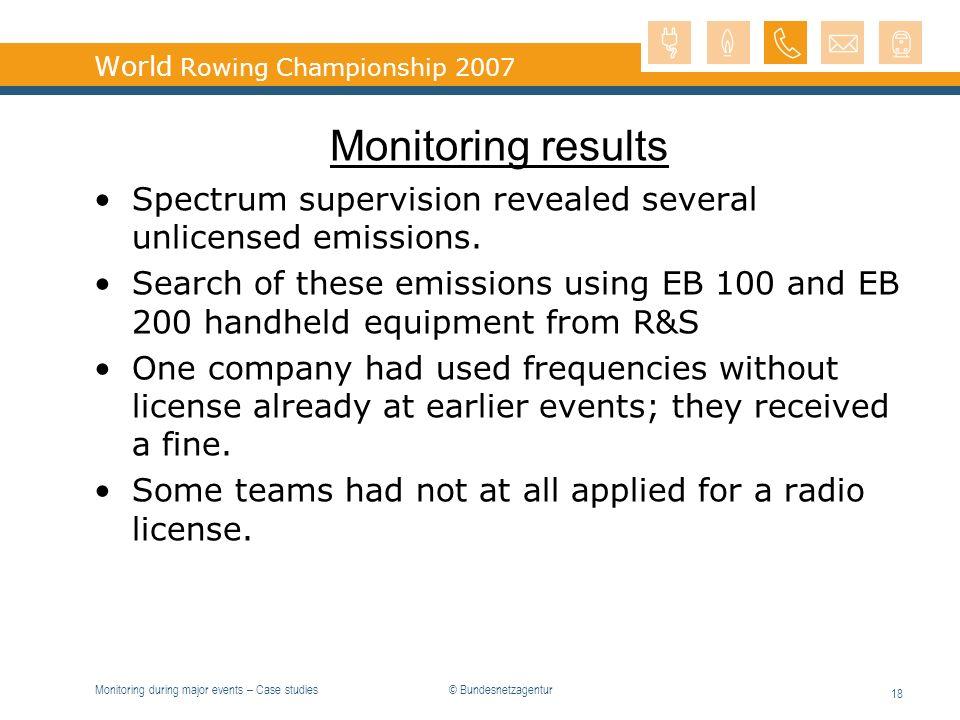 Monitoring during major events – Case studies 18 World Rowing Championship 2007 Monitoring results Spectrum supervision revealed several unlicensed em