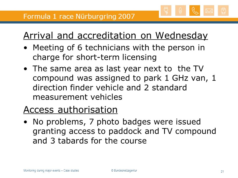 Monitoring during major events – Case studies 21 Formula 1 race Nürburgring 2007 Arrival and accreditation on Wednesday Meeting of 6 technicians with