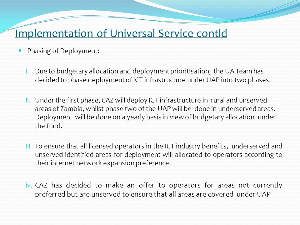 Implementation of Universal Service contld Disbursement Guideline: i.