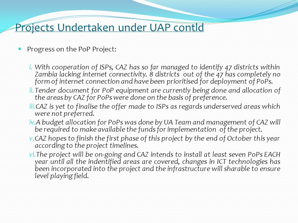 Projects Undertaken under UAP contld Progress on the MCT Project i.