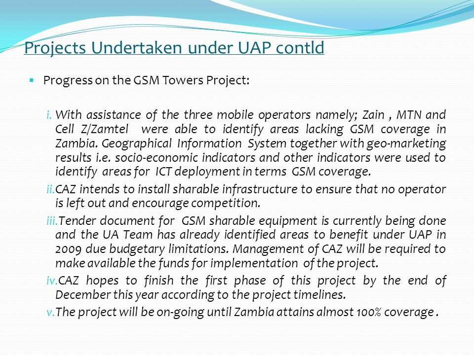 Projects Undertaken under UAP contld Progress on the PoP Project: i.