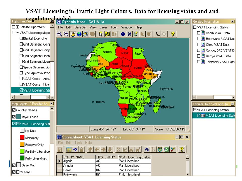VSAT Licensing in Traffic Light Colours. Data for licensing status and and regulators loaded.