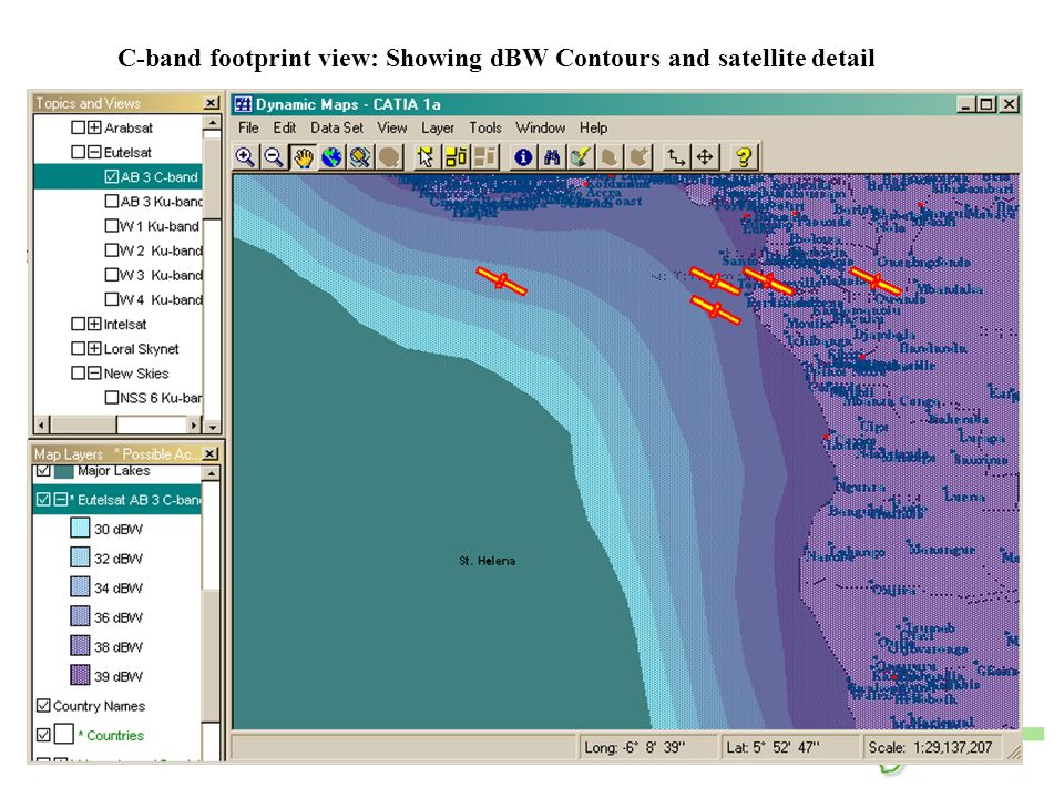 C-band footprint view: Showing dBW Contours and satellite detail