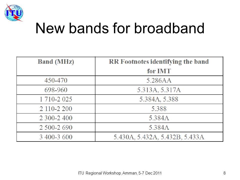 ITU Regional Workshop, Amman, 5-7 Dec 20118 New bands for broadband