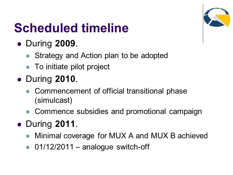 Scheduled timeline During 2009. Strategy and Action plan to be adopted To initiate pilot project During 2010. Commencement of official transitional ph