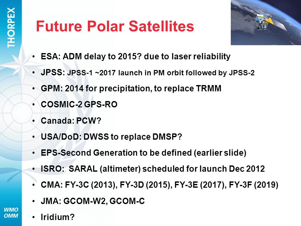 Future Polar Satellites ESA: ADM delay to 2015.
