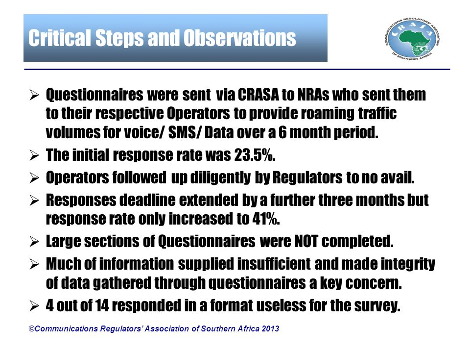 Critical Steps and Observations ©Communications Regulators Association of Southern Africa 2013 Questionnaires were sent via CRASA to NRAs who sent the