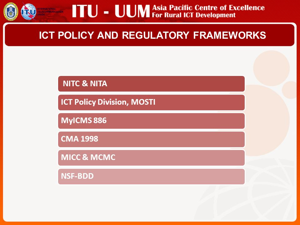 ICT POLICY AND REGULATORY FRAMEWORKS NITC & NITAICT Policy Division, MOSTIMyICMS 886CMA 1998MICC & MCMCNSF-BDD