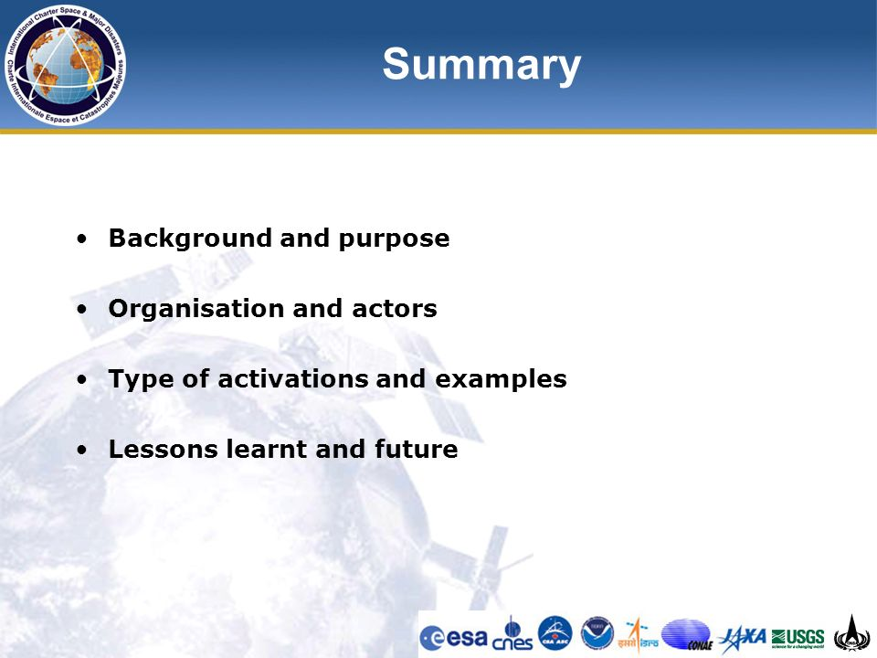 Summary Background and purpose Organisation and actors Type of activations and examples Lessons learnt and future