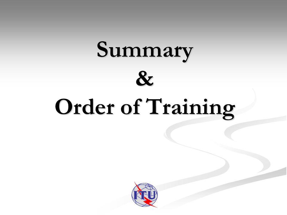 Summary & Order of Training
