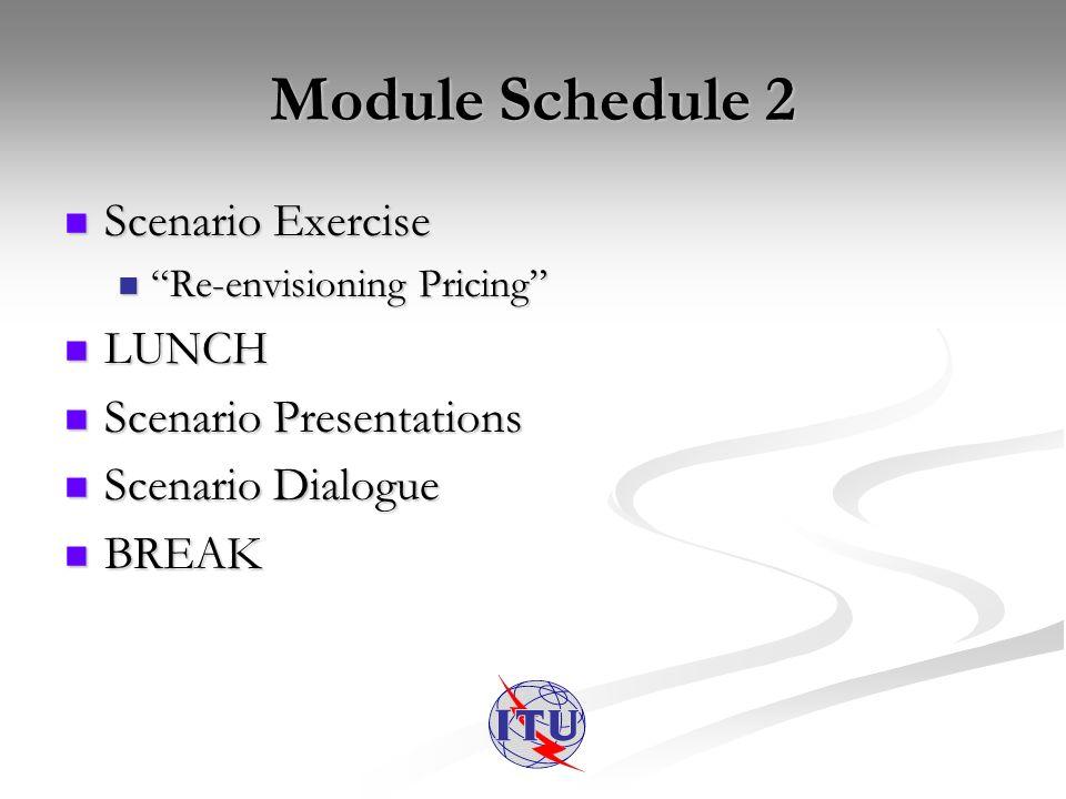 Module Schedule 2 Scenario Exercise Scenario Exercise Re-envisioning Pricing Re-envisioning Pricing LUNCH LUNCH Scenario Presentations Scenario Presentations Scenario Dialogue Scenario Dialogue BREAK BREAK