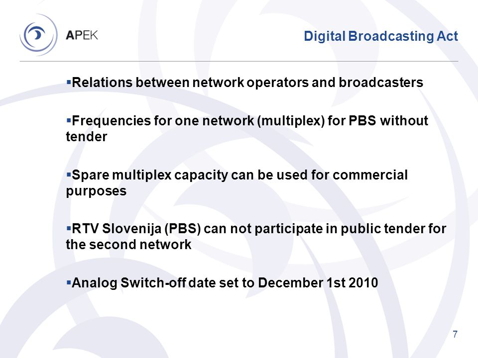 Digital Broadcasting Act Relations between network operators and broadcasters Frequencies for one network (multiplex) for PBS without tender Spare mul