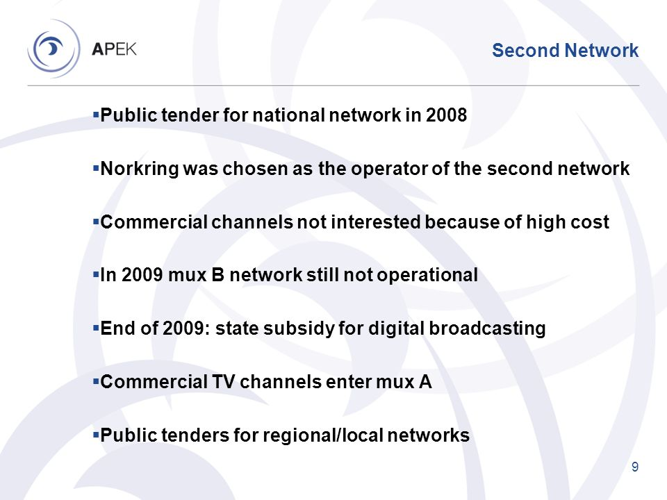 Second Network Public tender for national network in 2008 Norkring was chosen as the operator of the second network Commercial channels not interested