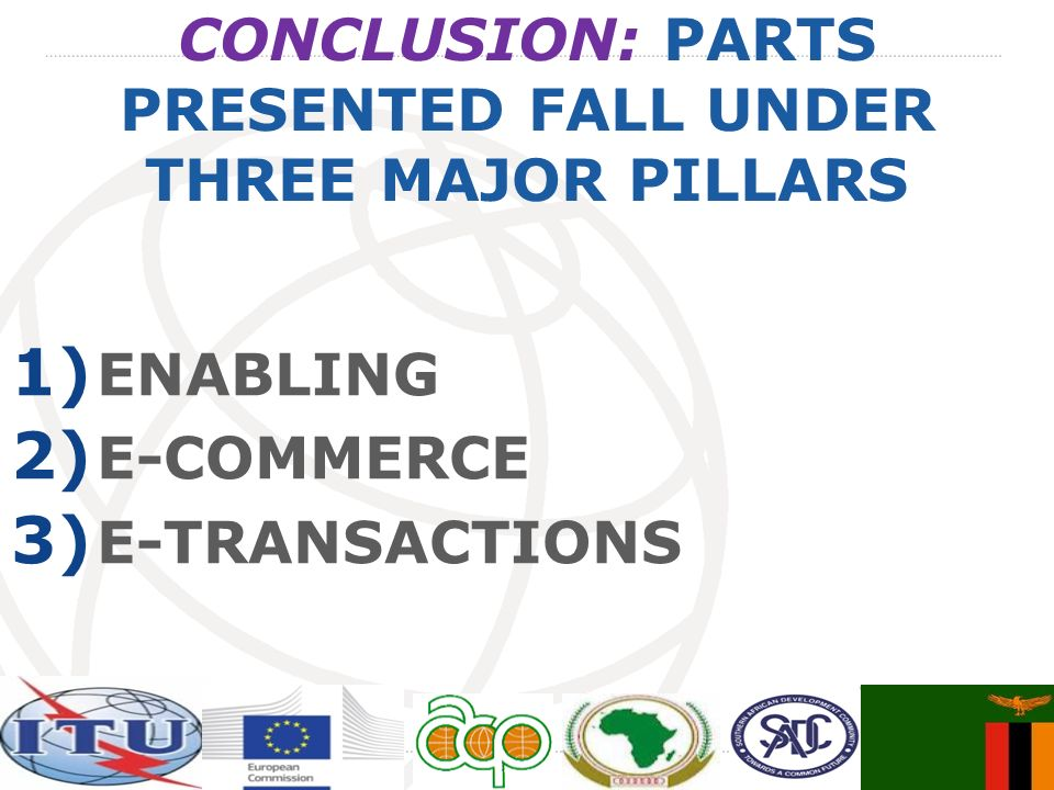 CONCLUSION: PARTS PRESENTED FALL UNDER THREE MAJOR PILLARS 1) ENABLING 2) E-COMMERCE 3) E-TRANSACTIONS