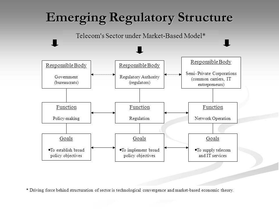 Emerging Regulatory Structure Responsible Body Regulatory Authority (regulators) Goals To establish broad policy objectives Goals To implement broad policy objectives Goals To supply telecom and IT services Function Regulation Responsible Body Government (bureaucrats) Responsible Body Semi-/Private Corporations (common carriers, IT entrepreneurs) Function Policy-making Function Network Operation Telecom s Sector under Market-Based Model* * Driving force behind structuration of sector is technological convergence and market-based economic theory.