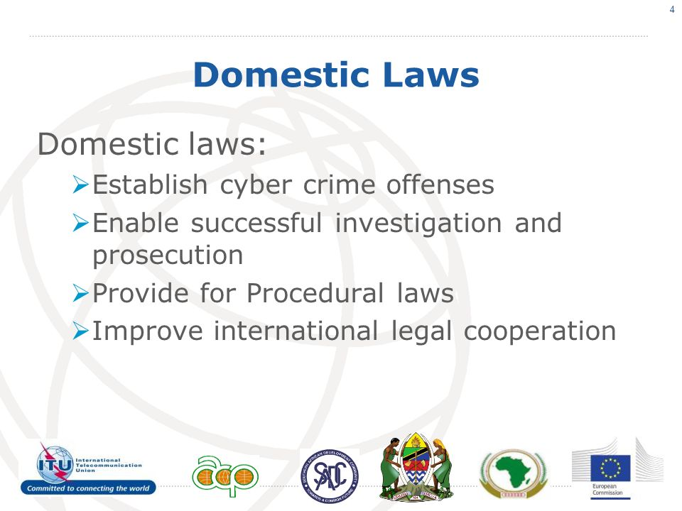 Domestic Laws Domestic laws: Establish cyber crime offenses Enable successful investigation and prosecution Provide for Procedural laws Improve international legal cooperation 4