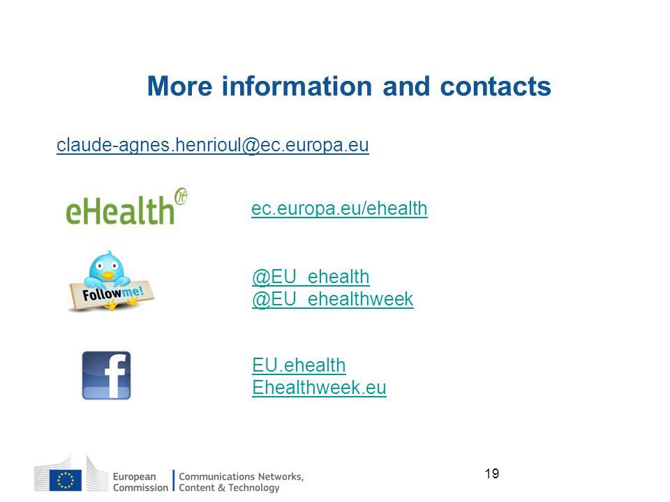 19 More information and contacts ec.europa.eu/ehealth @EU_ehealth @EU_ehealthweek EU.ehealth Ehealthweek.eu claude-agnes.henrioul@ec.europa.eu