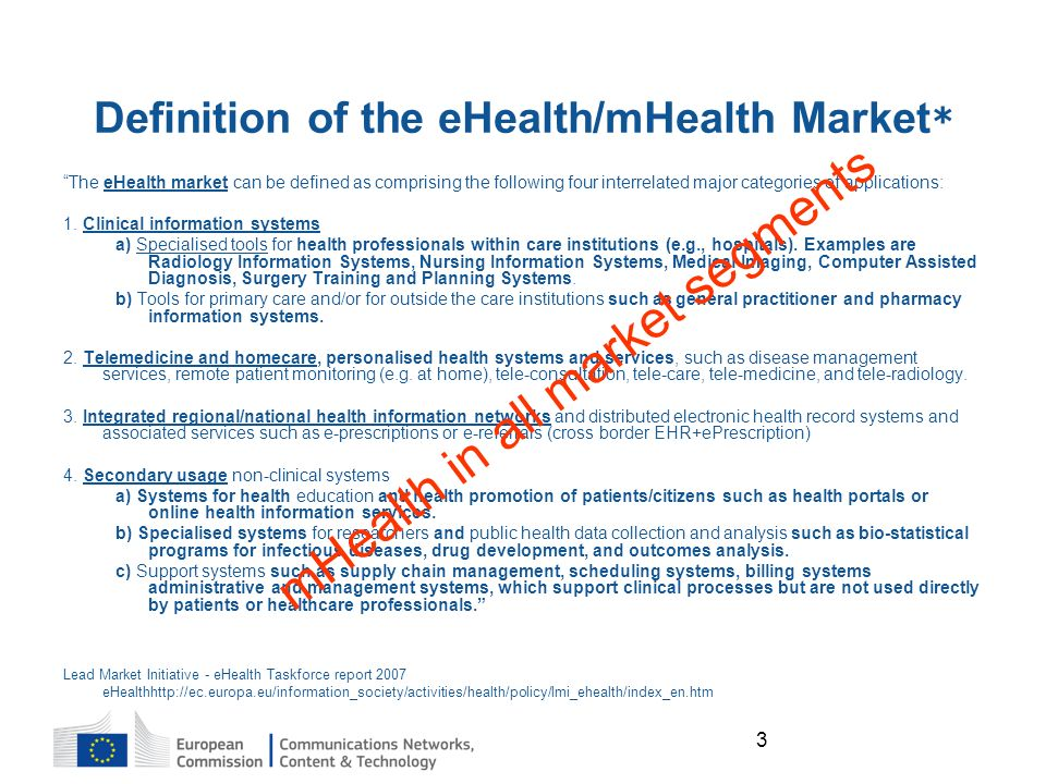 3 Definition of the eHealth/mHealth Market * The eHealth market can be defined as comprising the following four interrelated major categories of applications: 1.