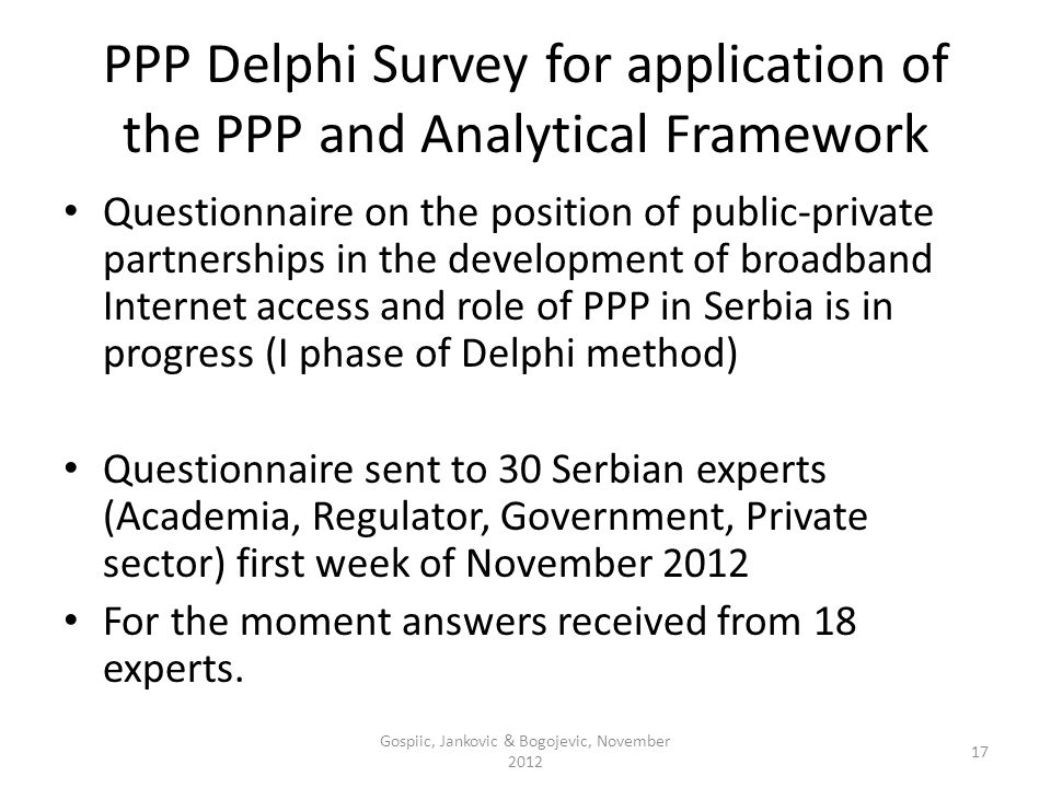 PPP Delphi Survey for application of the PPP and Analytical Framework Questionnaire on the position of public-private partnerships in the development