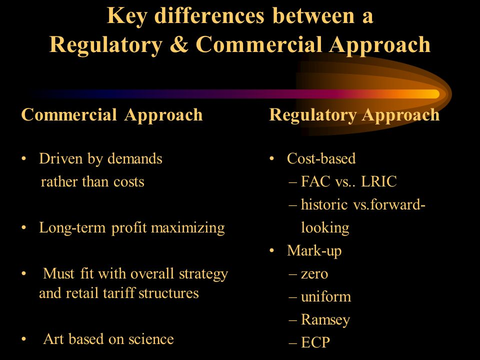 Key issues for pricing wholesale / interconnect services The growing importance of jointly-provided services The importance of taking both long and short-term considerations The importance of recognizing that the interests of the regulator are, in the longer term, fundamentally opposed to the interests of the telecoms industry The need to understand the implications of pricing decisions across retail and wholesale services The need to understand that wholesale relations between operators are bilateral (both sides are buyers and sellers)
