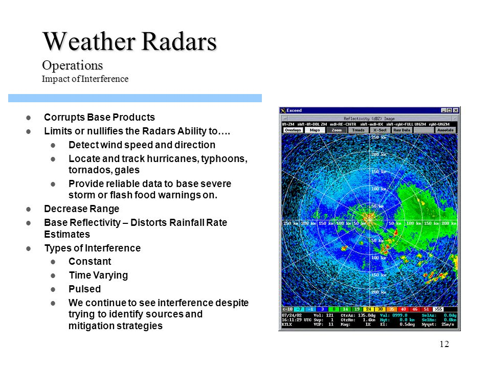 12 Weather Radars Operations Impact of Interference Corrupts Base Products Limits or nullifies the Radars Ability to…. Detect wind speed and direction
