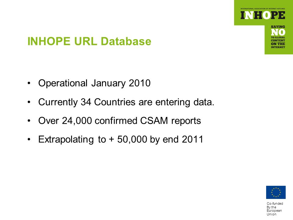 Co-funded By the European Union INHOPE URL Database Operational January 2010 Currently 34 Countries are entering data.