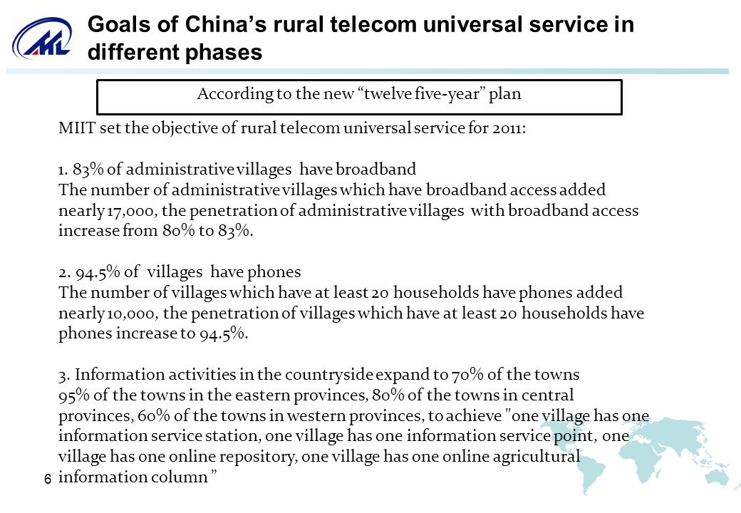 7 Work initiatives of Chinas rural telecom universal (A) Cosidering the local conditions to bulid broadband network of administrative villages.