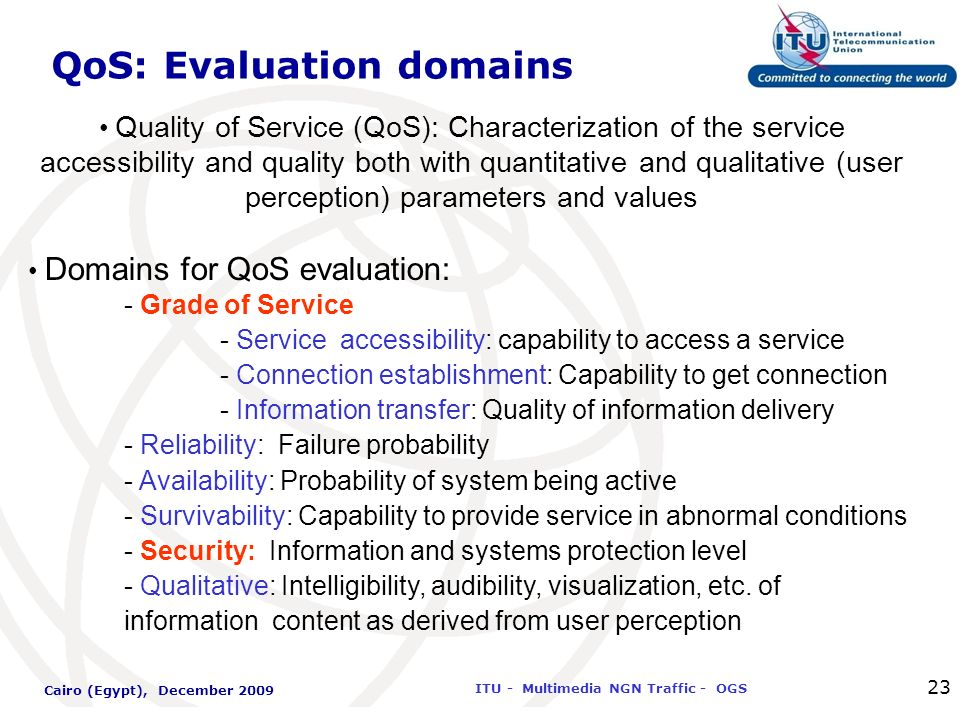 International Telecommunication Union ITU - Multimedia NGN Traffic - OGS Cairo (Egypt), December 2009 23 QoS: Evaluation domains Quality of Service (Q