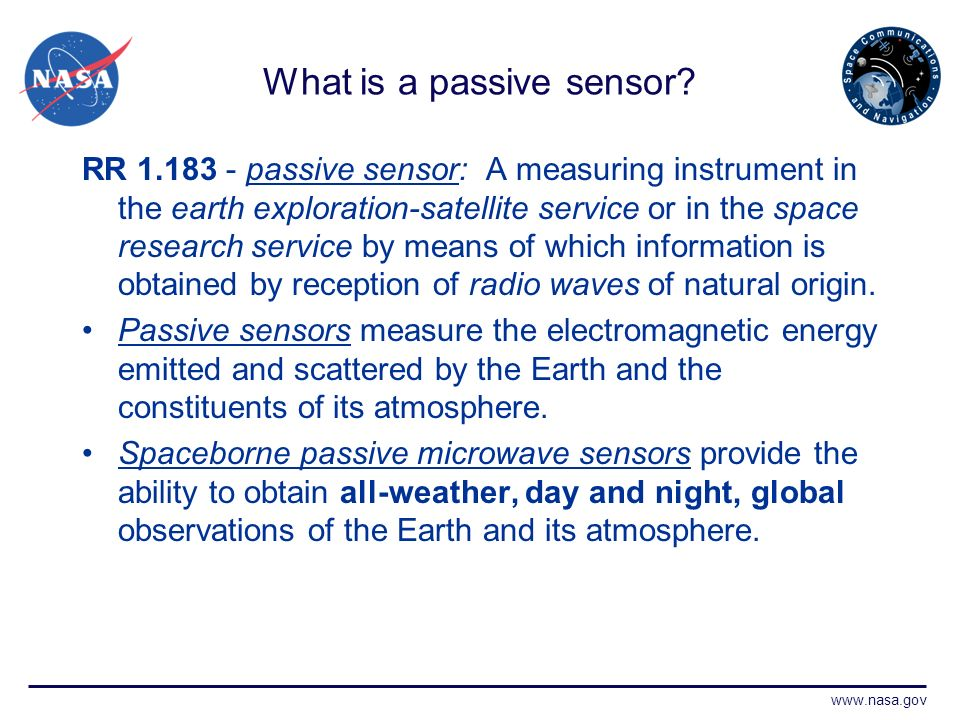 www.nasa.gov What is a passive sensor.