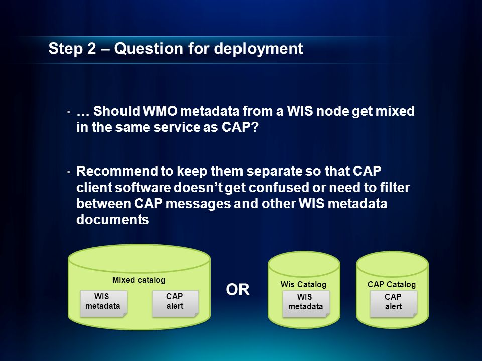 Wis Catalog Step 2 – Question for deployment … Should WMO metadata from a WIS node get mixed in the same service as CAP.