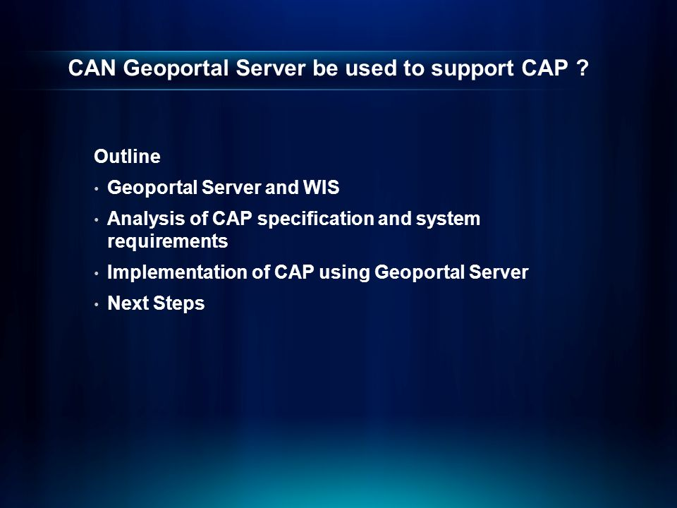 CAN Geoportal Server be used to support CAP .