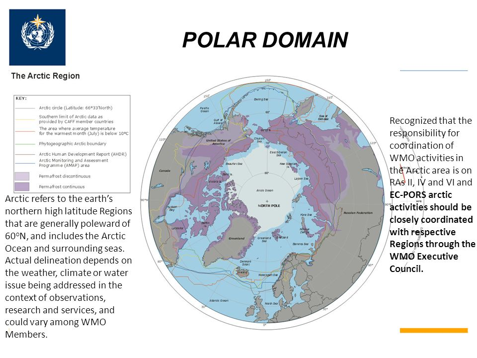 POLAR DOMAIN For technical matters (coordination and standardization), EC-PORS and its Antarctic Task Team shall be responsible for the area south of 60°S.