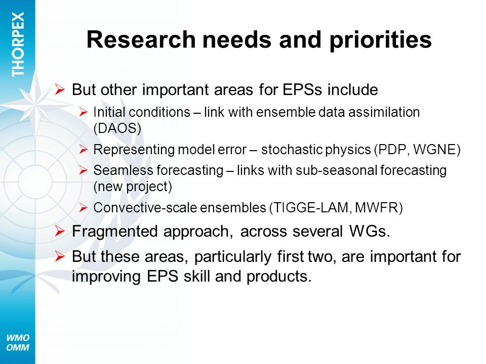 Research needs and priorities But other important areas for EPSs include Initial conditions – link with ensemble data assimilation (DAOS) Representing