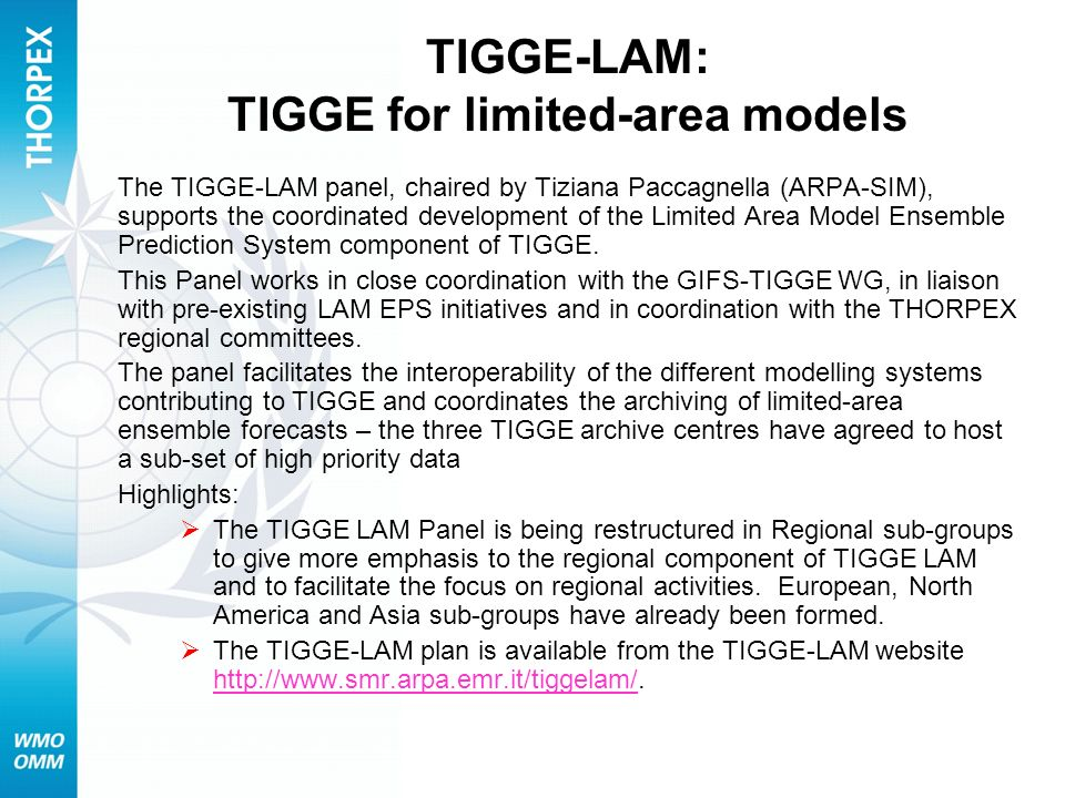 TIGGE-LAM: TIGGE for limited-area models The TIGGE-LAM panel, chaired by Tiziana Paccagnella (ARPA-SIM), supports the coordinated development of the L