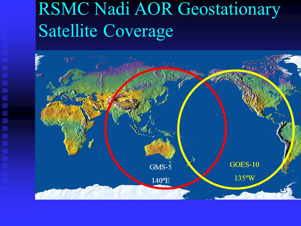 RSMC Nadi AOR Geostationary Satellite Coverage GMS-5 140ºE GOES-10 135ºW