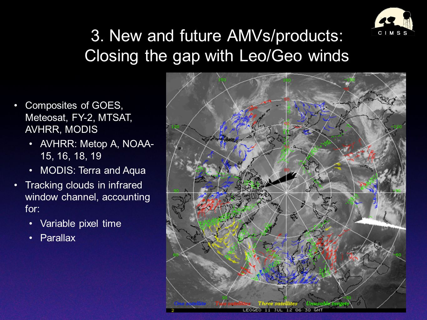 3. New and future AMVs/products: Closing the gap with Leo/Geo winds Composites of GOES, Meteosat, FY-2, MTSAT, AVHRR, MODIS AVHRR: Metop A, NOAA- 15,