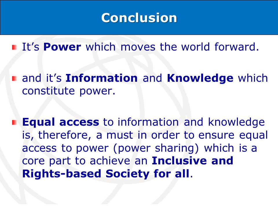International Telecommunication Union Conclusion Its Power which moves the world forward.