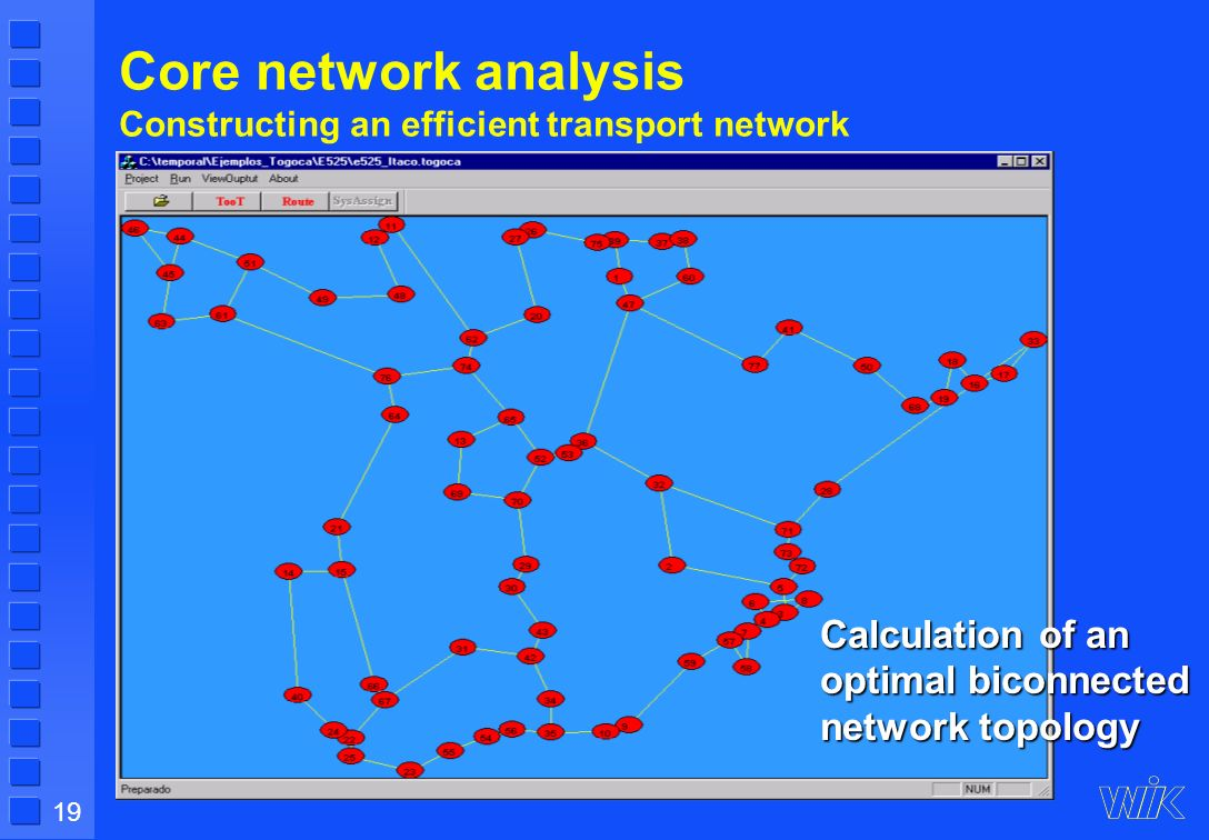 19 Core network analysis Constructing an efficient transport network Calculation of an optimal biconnected network topology
