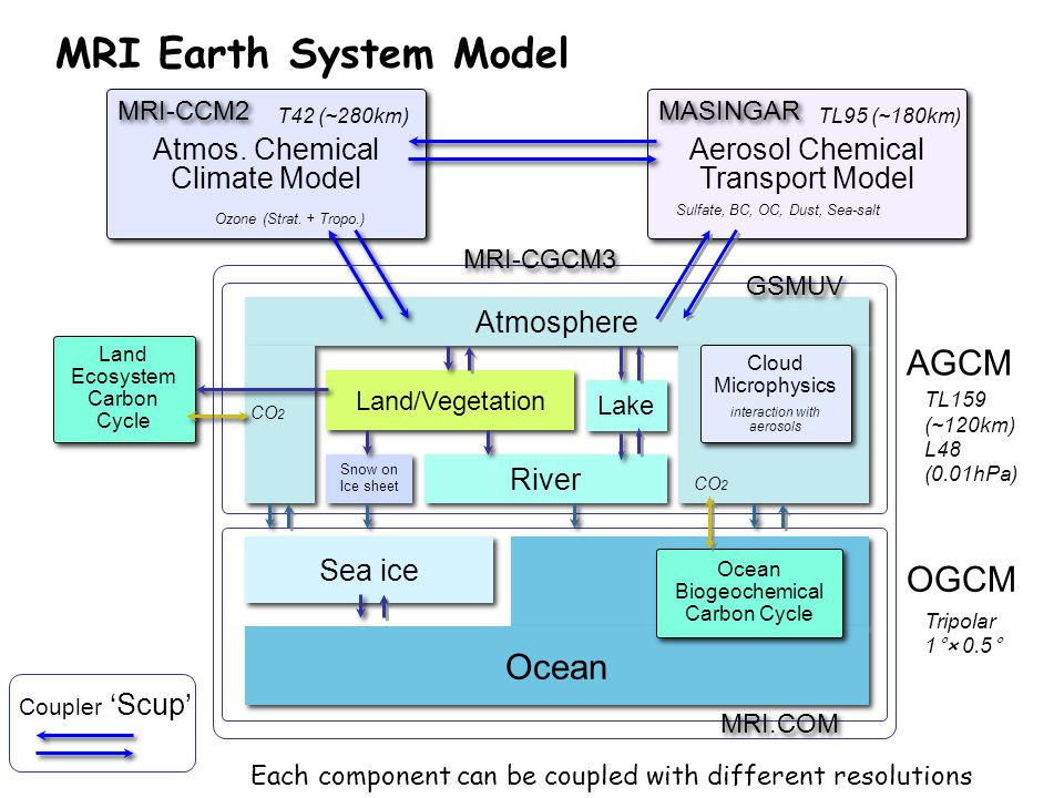 Ocean Sea ice Ocean Biogeochemical Carbon Cycle Atmosphere Land/Vegetation Snow on Ice sheet River Lake Cloud Microphysics interaction with aerosols C