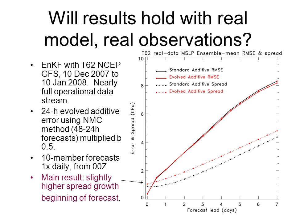 18 Will results hold with real model, real observations.