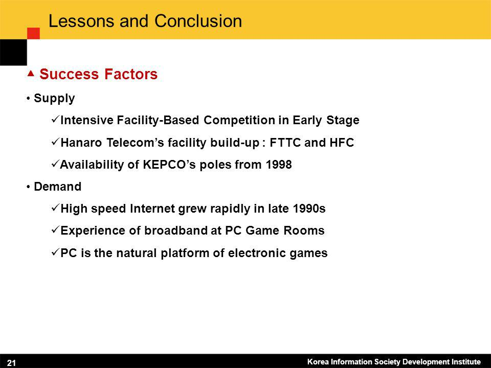 Korea Information Society Development Institute 21 Lessons and Conclusion Success Factors Supply Intensive Facility-Based Competition in Early Stage H