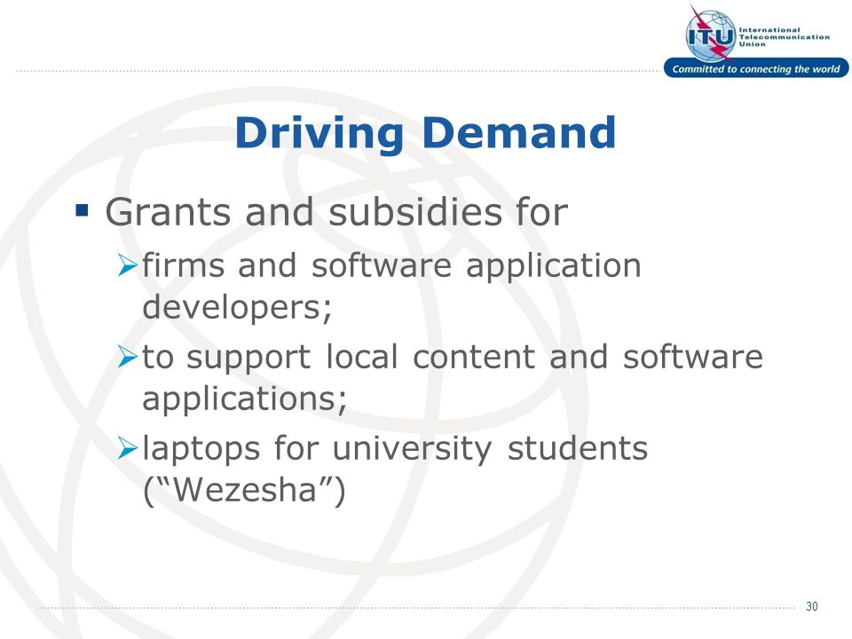 Driving Demand Grants and subsidies for firms and software application developers; to support local content and software applications; laptops for university students (Wezesha) 30