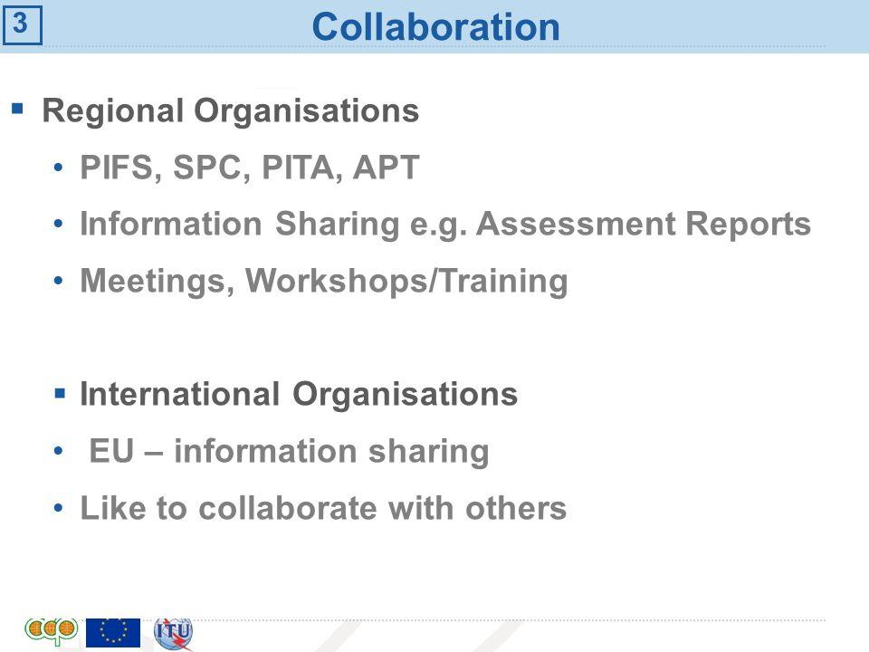 International Telecommunication Union Collaboration Regional Organisations PIFS, SPC, PITA, APT Information Sharing e.g. Assessment Reports Meetings,