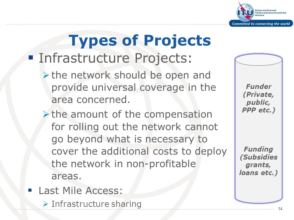 Types of Projects Infrastructure Projects: the network should be open and provide universal coverage in the area concerned.