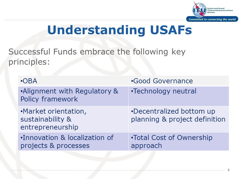 Understanding USAFs Successful Funds embrace the following key principles: 4 OBA Good Governance Alignment with Regulatory & Policy framework Technology neutral Market orientation, sustainability & entrepreneurship Decentralized bottom up planning & project definition Innovation & localization of projects & processes Total Cost of Ownership approach